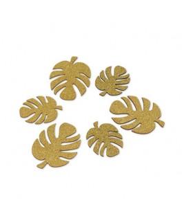 6 Feuilles tropicales bois pailleté or