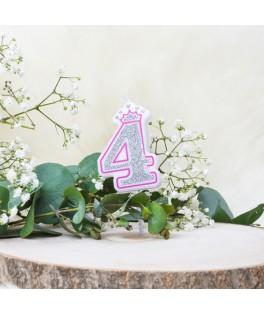 Bougie Chiffre 4 Princesse Paillettes rose