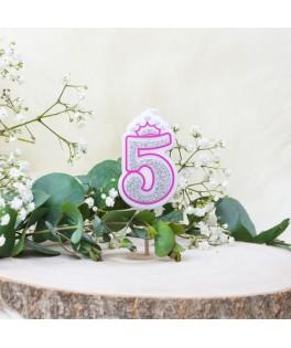 Bougie Chiffre 5 Princesse Paillettes rose