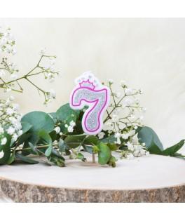 Bougie Chiffre 7 Princesse Paillettes rose