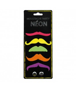 Assortiment de 6 moustaches Fluo