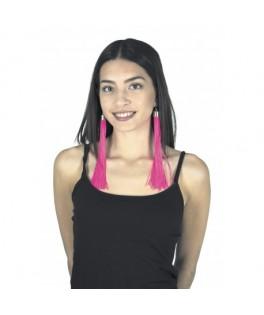 Boucles d'oreille Franges Fluo rose