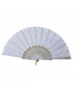 Eventail tissu blanc