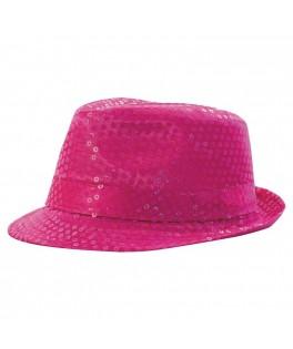 Chapeau Borsalino sequins fluo rose