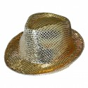 Chapeau Borsalino sequins fluo Or