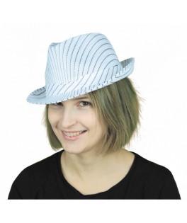 Chapeau Borsalino blanc rayé noir