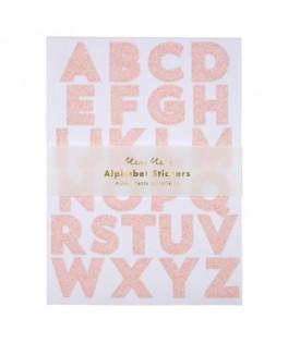10 Stickers Alphabet paillettes roses irisées