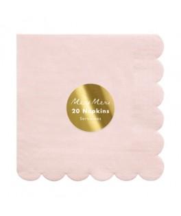 20 Grandes serviettes pastel rose 33 cm