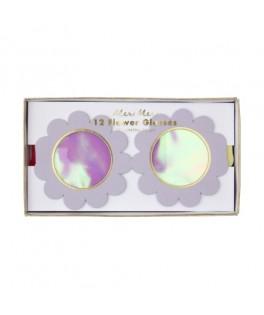 12 Lunettes Fleurs carton irisées
