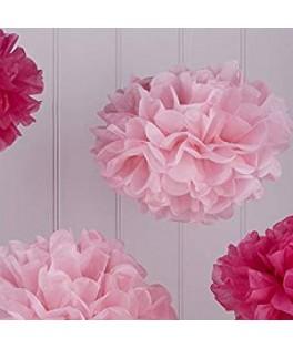 5 Pompons en papier rose