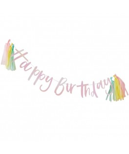 Guirlande Happy Birthday irisée & tassels - 2 m