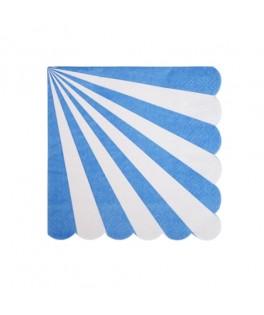 20 Serviettes en papier rayées bleu 25 cm