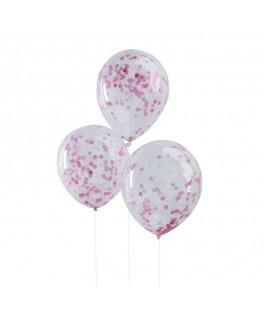 5 Ballons transparents confettis rose pâle