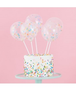 5 Cake toppers ballons confettis