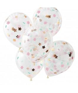 5 Ballons transparents confettis fleurs