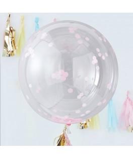 3 Grands ballons confettis rose