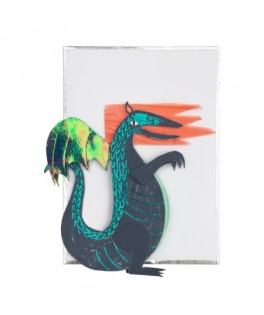 Carte Anniversaire HAPPY BIRTHDAY Dragon à poser