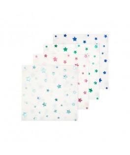 16 Petites serviettes étoiles métal multicolores - 25 cm