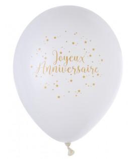 8 Ballons blancs Joyeux Anniversaire Or