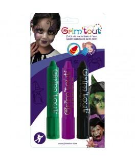 3 Crayons de maquillage Sorcière - Grim'tout