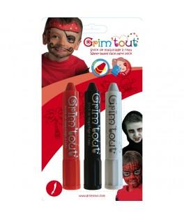 3 Crayons de maquillage Pirate - Grim'tout
