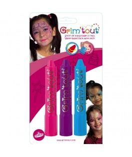 3 Crayons de maquillage Princesse - Grim'tout