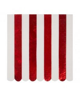 16 Grandes serviettes rayures rouges 33 cm