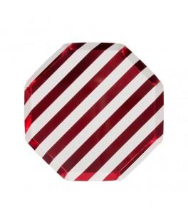 8 Petites assiettes rayures rouges 18 cm