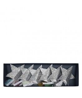 6 Etoiles de confettis argent