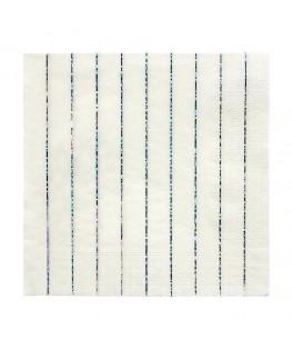 16 Grandes serviettes rayures Argent Etincellant 33 cm