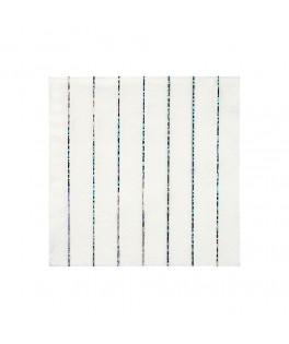 16 Petites serviettes rayures Argent Etincellant 25 cm