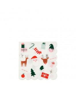 16 Grandes serviettes Funky Noël 33 cm