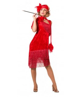 Déguisement robe Charleston de luxe rouge femme