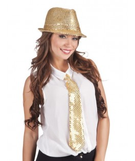 Cravate à sequins or