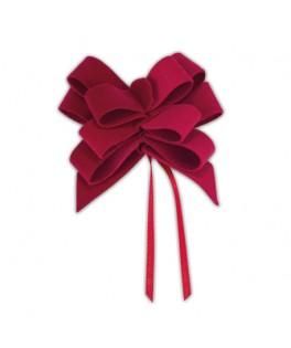 3 Jolis noeuds velours rouge à tirer 8x9 cm