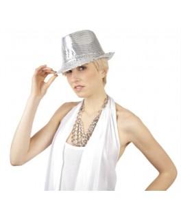 Chapeau Popstar Sequins Argent