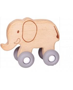 Eléphant en bois à pousser