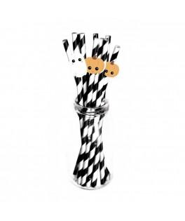 10 pailles papier rayées noir Halloween