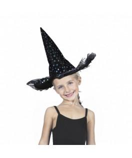 Chapeau de sorcière Etoiles irisées luxe enfant