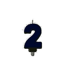 Bougie Chiffre 2 Paillettes bleues
