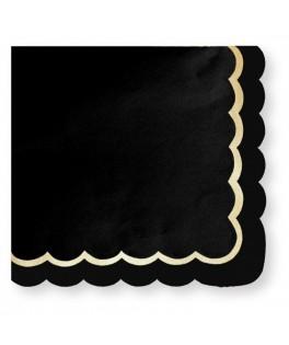 16 Serviettes noires et or