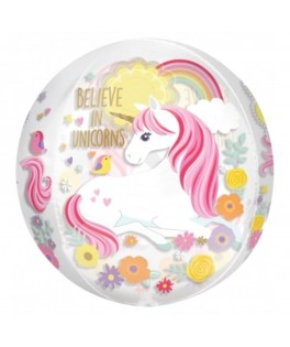 "Ballon Foil Orbz transparent ""Magical Unicorn"" , , sous sachet"
