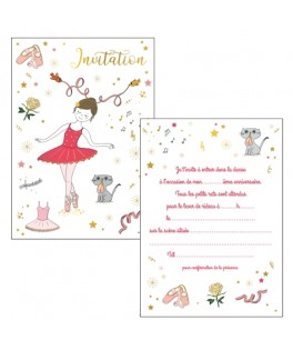8 Cartes Invitation Or