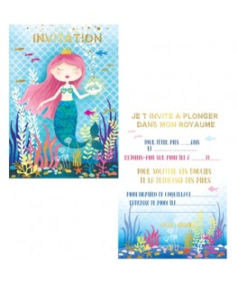 8 Invitations Sirène