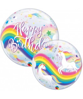Ballon Bubble Licorne Happy Birthday - 56 cm