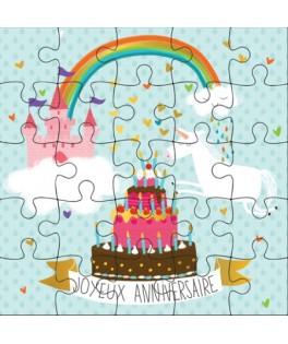 Carte Joyeux Anniversaire Arc en ciel Puzzle
