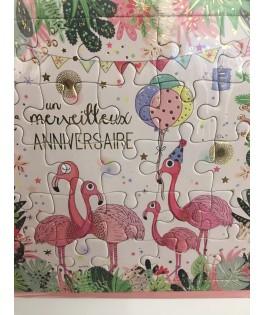 Carte Joyeux Anniversaire Flamant rose