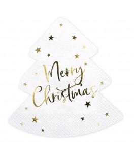 20 Serviettes Sapin Merry Christmas