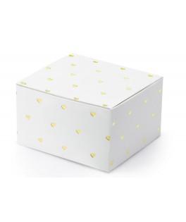10 Boîtes blanches coeurs dorés