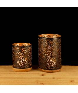 Set de 2 Lanternes Fantasy métal/bois noir